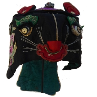 677 Gold-Foil Double Tiger Silk Chinese Children's Hat