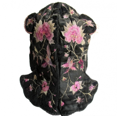 Back image of Black Silk Embroidered Miao Wind Hat