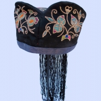 529 BlacK Silk Dog Earred Hat