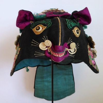 683 Green and Black Double Tiger Chinese Hat