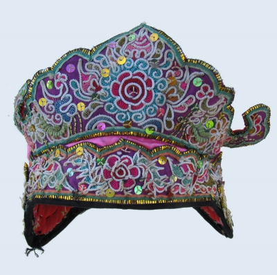 Lively Pink Silk Dong Festival Hat