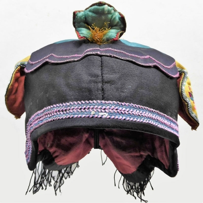 681 Lotus Bud Chinese Child's Silk Fringed Hat