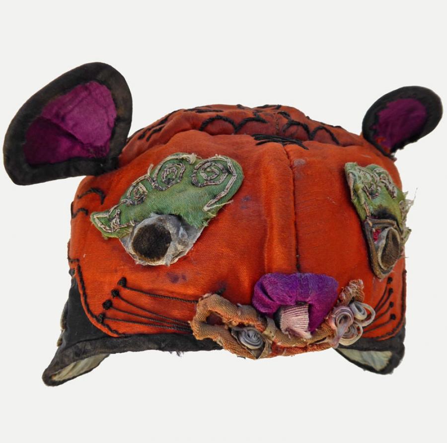 610 han chinese orange silk tiger hat