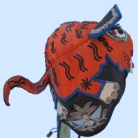 530-Orange Silk Tiger Chinese Wind Hat