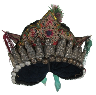 Dong Minority Long Back Festival Hat with Silver Amulets