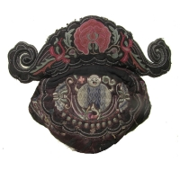 393 - Antique Bai Minority Silk Embroidered Hat