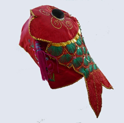 660 Red Silk Brocade Miao Fish Hat