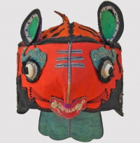672 Classic Orange Silk Chinese Child's Tiger Hat
