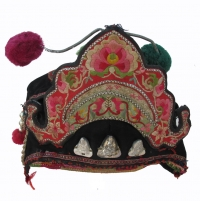 Vintage Bai Minority Girls Festival Hat with Pomegranate and Butterfly image