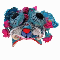 562 Lively Blue Silk Dragon with Flowers Han Chinese Hat