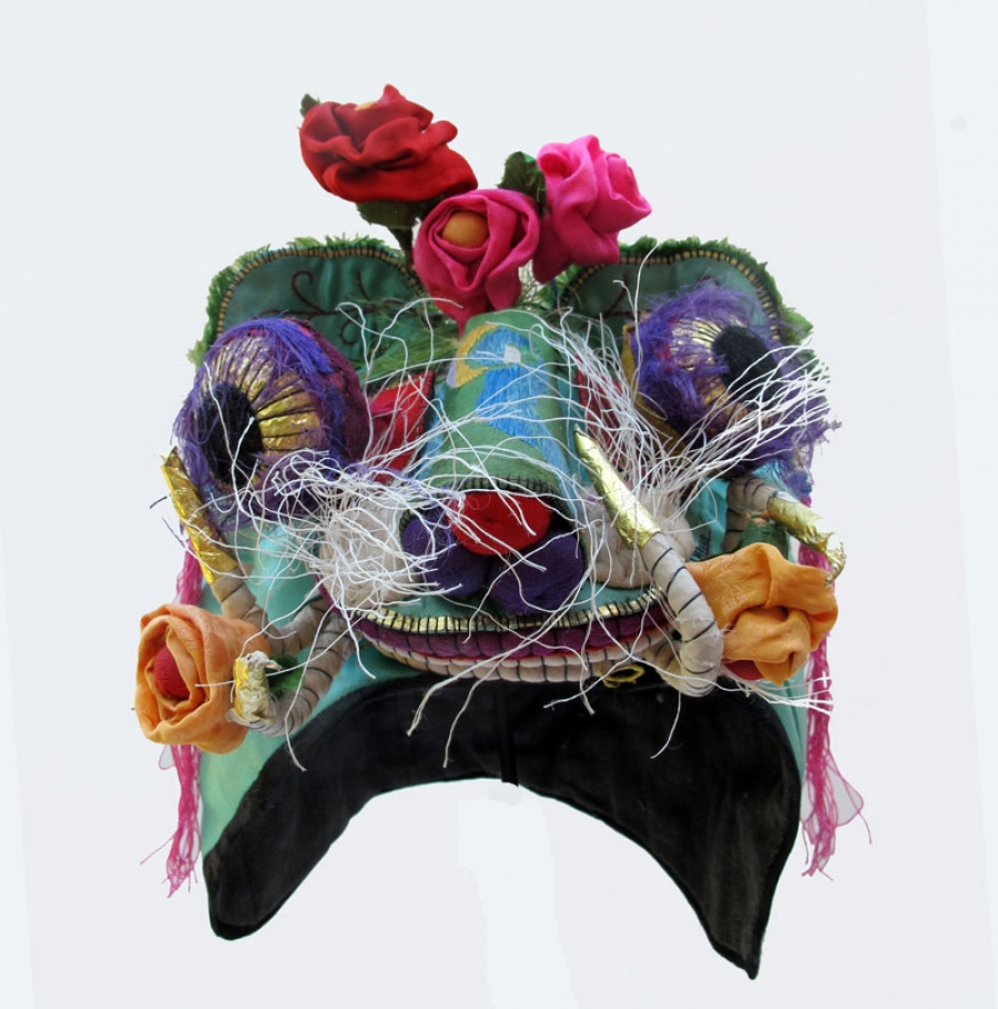 600 Sea Green Silk Flower Chinese Childs Dragon Hat